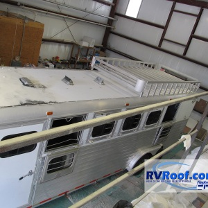 Horse-trailer-in-shop-getting-ready-for-lifetime-no-leak-sprayed-roof
